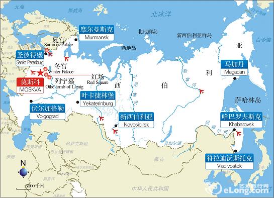 俄罗斯旅游地图