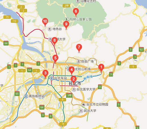 台北旅游景点地图