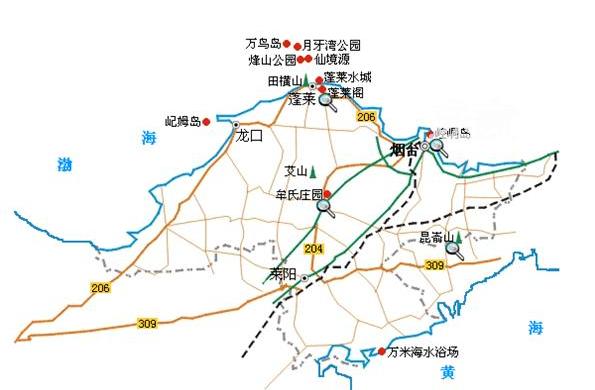 烟台旅游地图