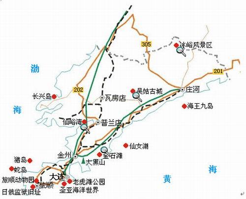 大连旅游景点地图