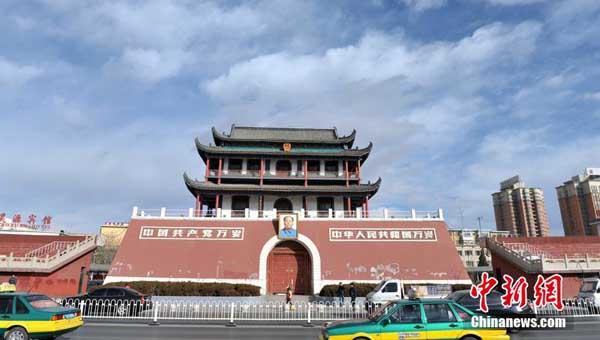 宁夏银川地标建筑外形酷似北京天安门